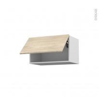Meuble de cuisine - Haut abattant - STILO Noyer Blanchi - 1 porte - L60 x H35 x P37 cm