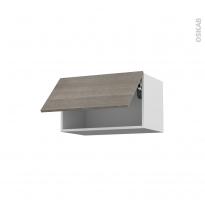 Meuble de cuisine - Haut abattant - STILO Noyer Naturel - 1 porte - L60 x H35 x P37 cm