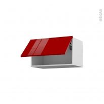 STECIA Rouge - Meuble haut abattant H35  - 1 porte - L60xH35xP37