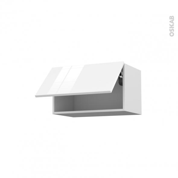 STECIA Blanc - Meuble haut abattant H35  - 1 porte - L60xH35xP37