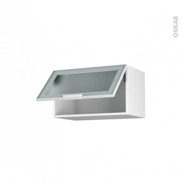 SOKLEO - Meuble haut abattant H35  - Façade blanche alu vitrée - 1 porte - L60xH35xP37