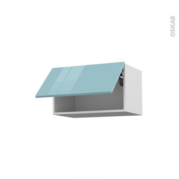 Meuble de cuisine - Haut abattant - KERIA Bleu - 1 porte - L60 x H35 x P37 cm
