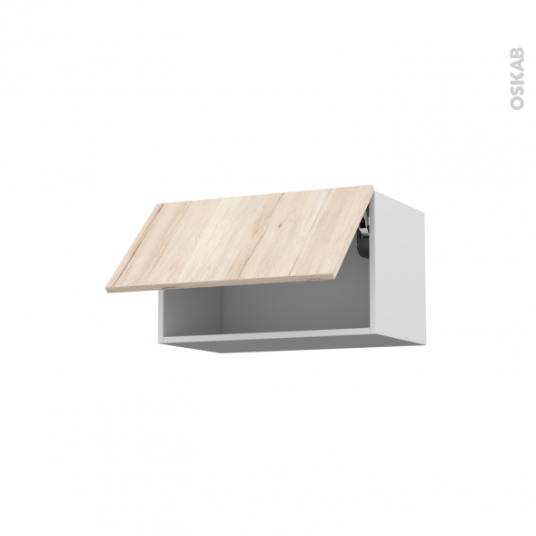 Meuble de cuisine - Haut abattant - IKORO Chêne clair - 1 porte - L60 x H35 x P37 cm