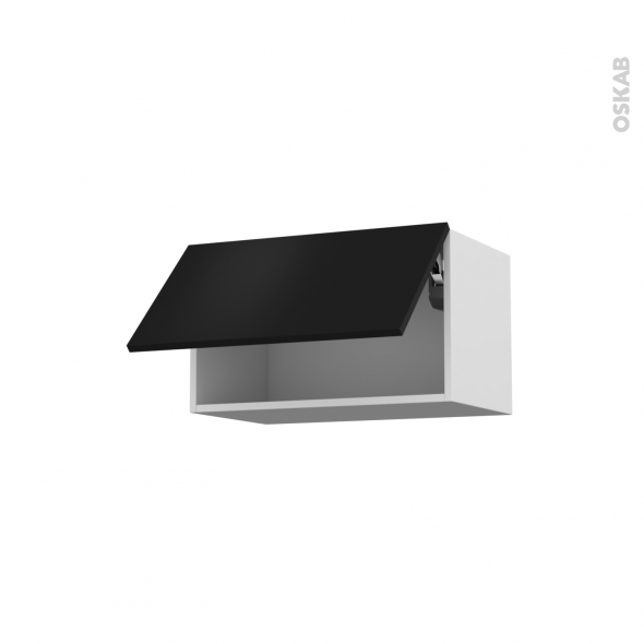 GINKO Noir - Meuble haut abattant H35  - 1 porte - L60xH35xP37