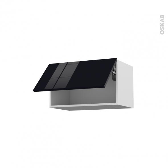 KERIA Noir - Meuble haut abattant H35  - 1 porte - L60xH35xP37