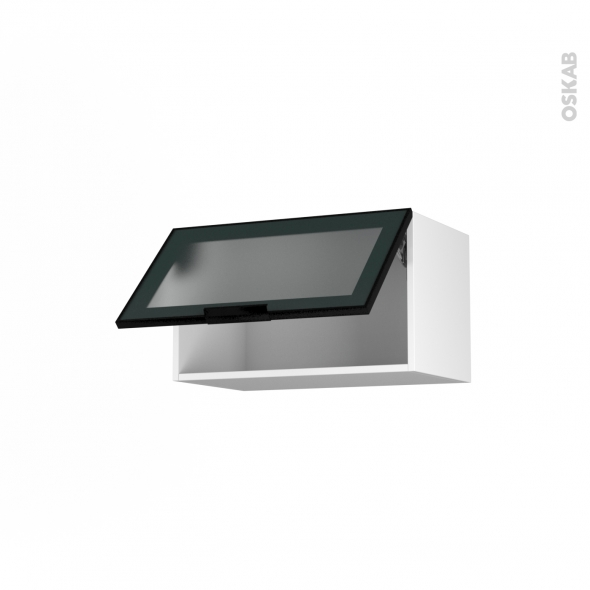 SOKLEO - Meuble haut abattant H35  - Façade noire alu vitrée - 1 porte - L60xH35xP37