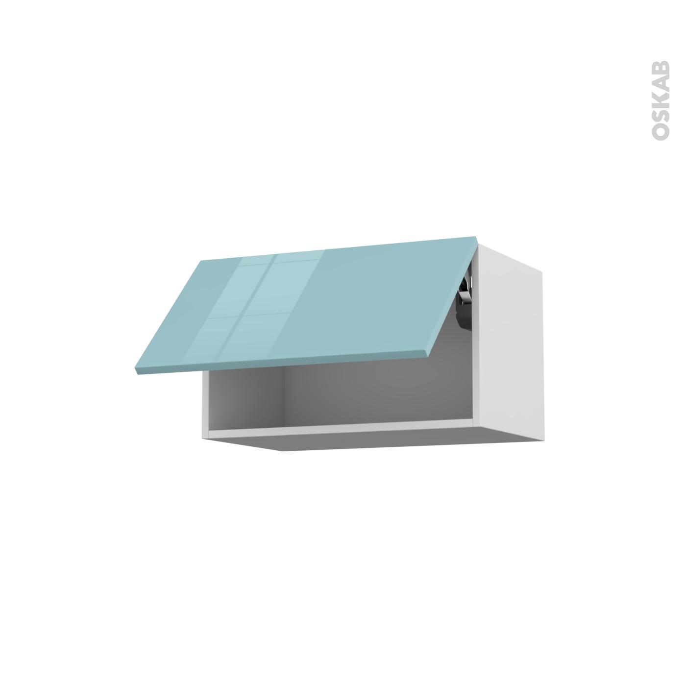 Meuble De Cuisine Haut Abattant Keria Bleu 1 Porte L60 X H35 X P37 Cm Oskab