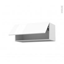 IRIS Blanc - Meuble haut abattant H35  - 1 porte - L80xH35xP37