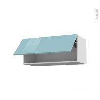 KERIA Bleu - Meuble haut abattant H35  - 1 porte - L80xH35xP37