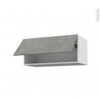 Meuble de cuisine - Haut abattant - FAKTO Béton - 1 porte - L80 x H35 x P37 cm