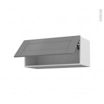 Meuble de cuisine - Haut abattant - FILIPEN Gris - 1 porte - L80 x H35 x P37 cm