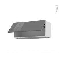 STECIA Gris - Meuble haut abattant H35  - 1 porte - L80xH35xP37