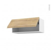 Meuble de cuisine - Haut abattant - IPOMA Chêne naturel - 1 porte - L80 x H35 x P37 cm