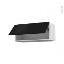GINKO Noir - Meuble haut abattant H35  - 1 porte - L80xH35xP37