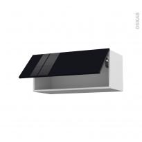 Meuble de cuisine - Haut abattant - KERIA Noir - 1 porte - L80 x H35 x P37 cm