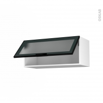 SOKLEO - Meuble haut abattant H35  - Façade noire alu vitrée - 1 porte - L80xH35xP37