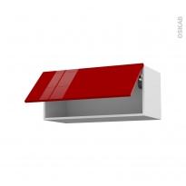 Meuble de cuisine - Haut abattant - STECIA Rouge - 1 porte - L80 x H35 x P37 cm