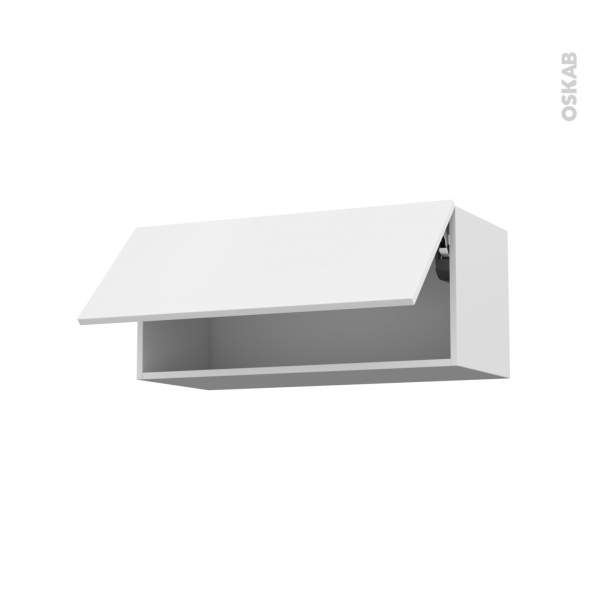 GINKO Blanc - Meuble haut abattant H35  - 1 porte - L80xH35xP37