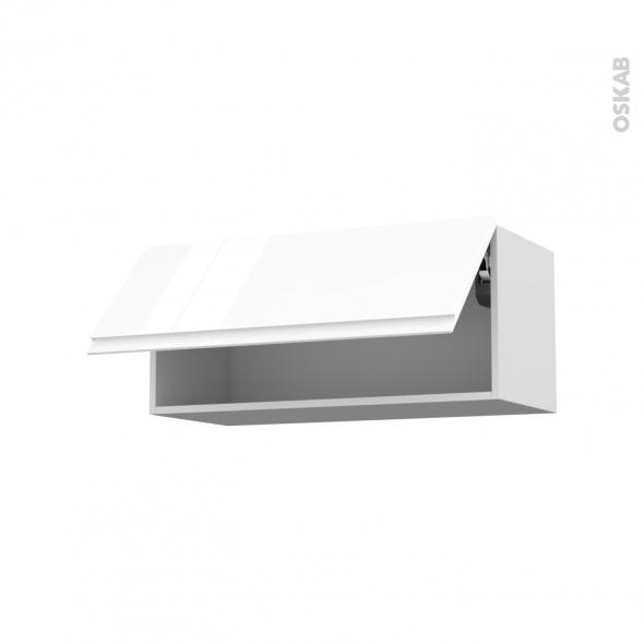 IPOMA Blanc - Meuble haut abattant H35  - 1 porte - L80xH35xP37