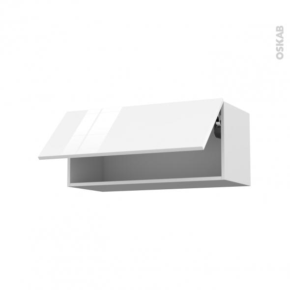 STECIA Blanc - Meuble haut abattant H35  - 1 porte - L80xH35xP37