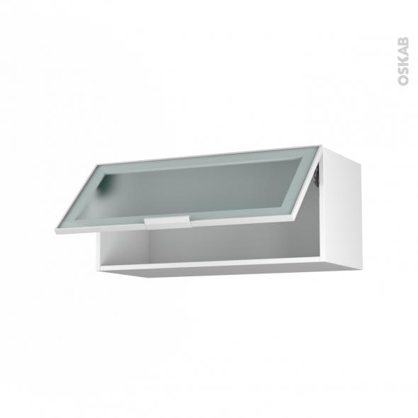 Meuble de cuisine - Haut abattant vitré - Façade blanche alu - 1 porte - L80 x H35 x P37 cm - SOKLEO