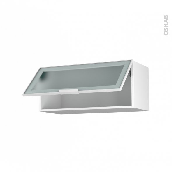 SOKLEO - Meuble haut abattant H35  - Façade blanche alu vitrée - 1 porte - L80xH35xP37