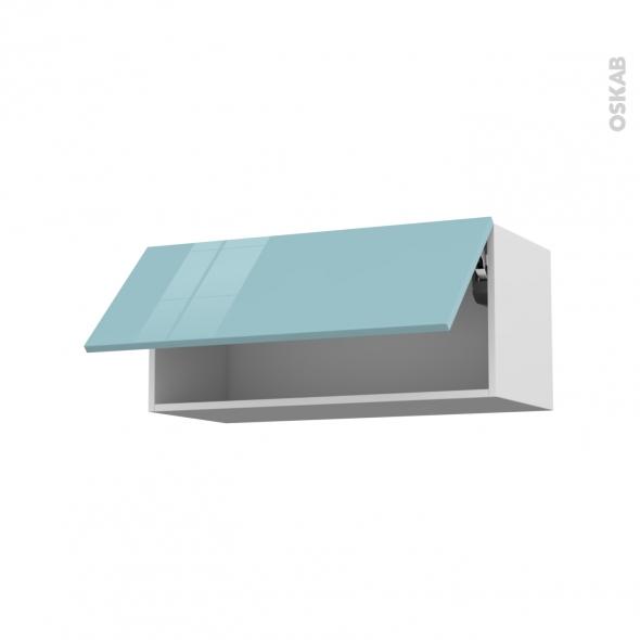 Meuble de cuisine - Haut abattant - KERIA Bleu - 1 porte - L80 x H35 x P37 cm