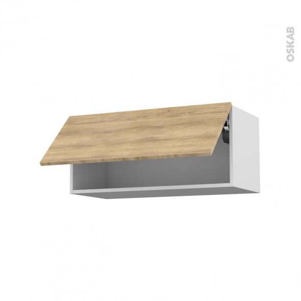Meuble de cuisine - Haut abattant - HOSTA Chêne naturel - 1 porte - L80 x H35 x P37 cm