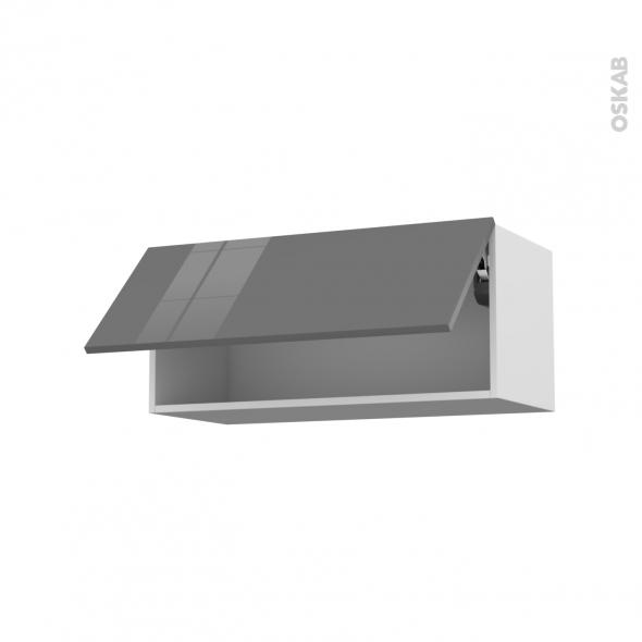 Meuble de cuisine - Haut abattant - STECIA Gris - 1 porte - L80 x H35 x P37 cm