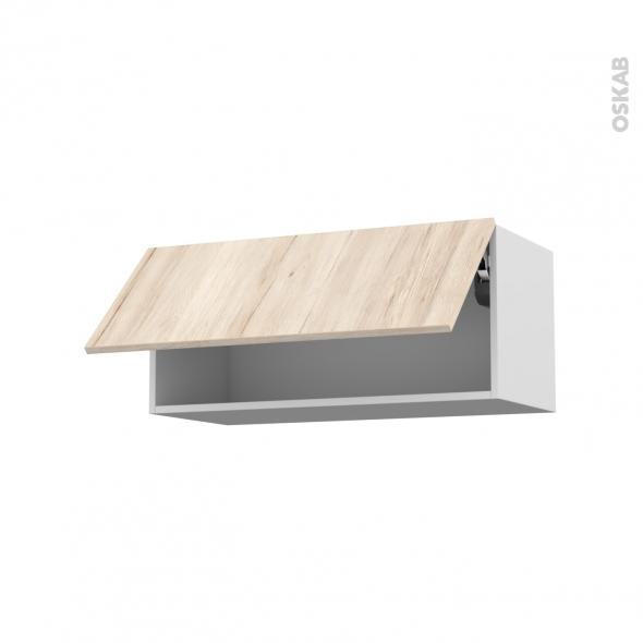 IKORO Chêne clair - Meuble haut abattant H35  - 1 porte - L80xH35xP37