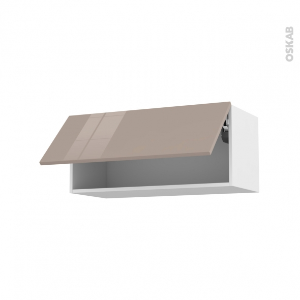 Meuble de cuisine - Haut abattant - KERIA Moka - 1 porte - L80 x H35 x P37 cm