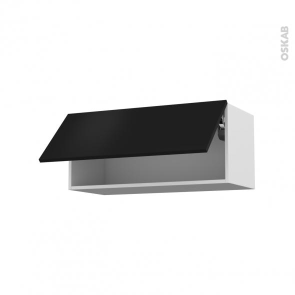 Meuble de cuisine - Haut abattant - GINKO Noir - 1 porte - L80 x H35 x P37 cm