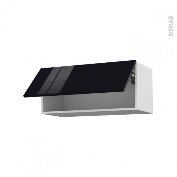 KERIA Noir - Meuble haut abattant H35  - 1 porte - L80xH35xP37