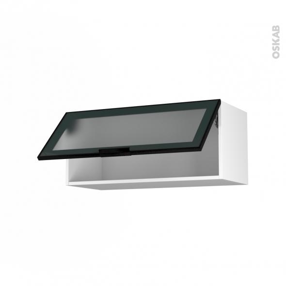 Meuble de cuisine - Haut abattant vitré - Façade noire alu - 1 porte - L80 x H35 x P37 cm - SOKLEO