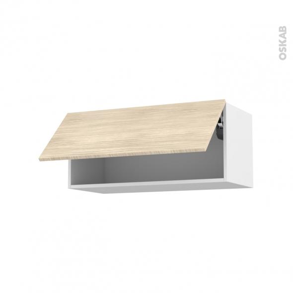 Meuble de cuisine - Haut abattant - STILO Noyer Blanchi - 1 porte - L80 x H35 x P37 cm