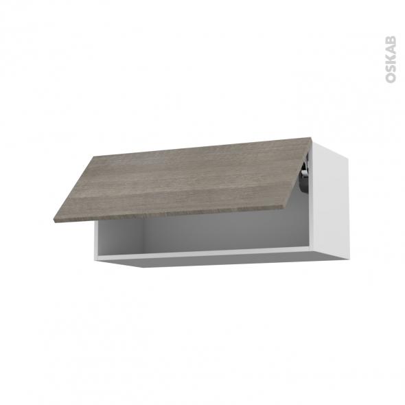 Meuble de cuisine - Haut abattant - STILO Noyer Naturel - 1 porte - L80 x H35 x P37 cm