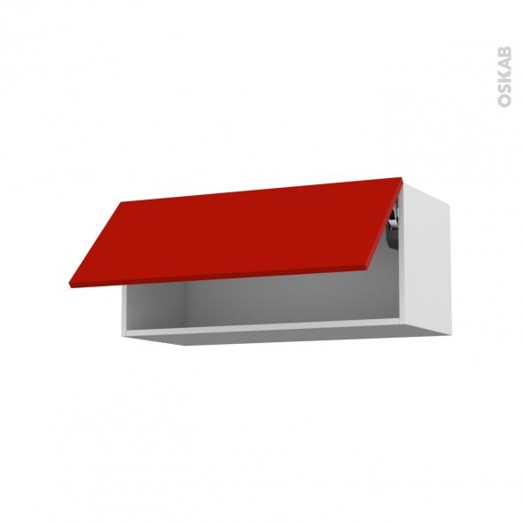 GINKO Rouge - Meuble haut abattant H35  - 1 porte - L80xH35xP37