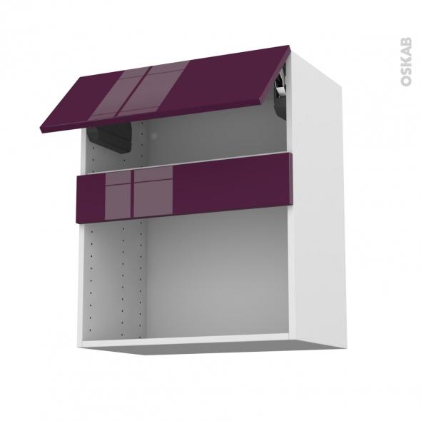 Meuble de cuisine - Haut MO encastrable niche 38 - KERIA Aubergine - 1 abattant - L60 x H70 x P37 cm
