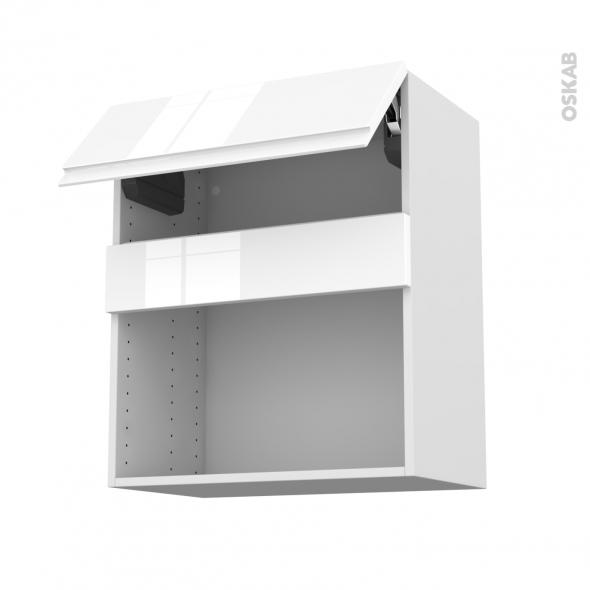 Meuble de cuisine - Haut MO encastrable niche 38 - IPOMA Blanc brillant - 1 abattant - L60 x H70 x P37 cm