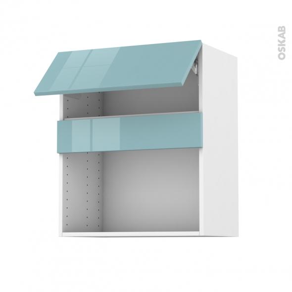 Meuble de cuisine - Haut MO encastrable niche 38 - KERIA Bleu - 1 abattant - L60 x H70 x P37 cm
