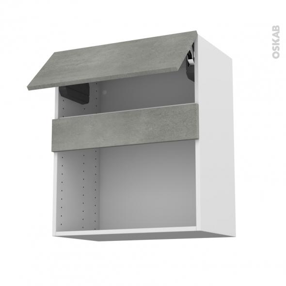 Meuble de cuisine - Haut MO encastrable niche 38 - FAKTO Béton - 1 abattant - L60 x H70 x P37 cm