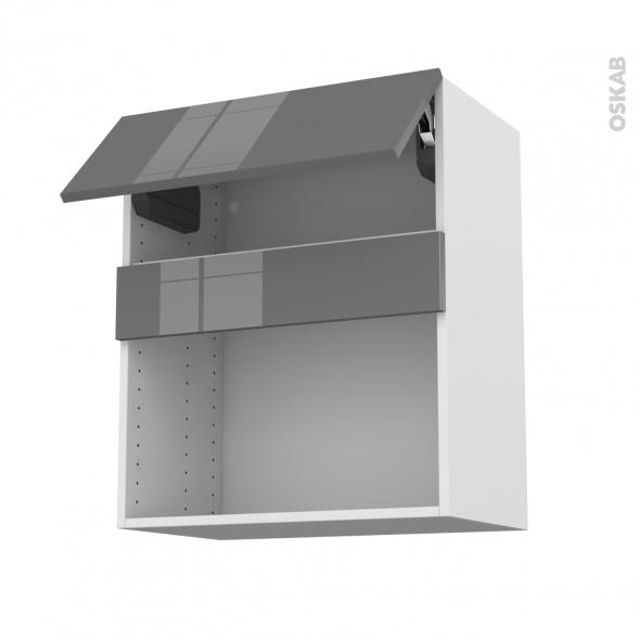 Meuble de cuisine - Haut MO encastrable niche 38 - STECIA Gris - 1 abattant - L60 x H70 x P37 cm