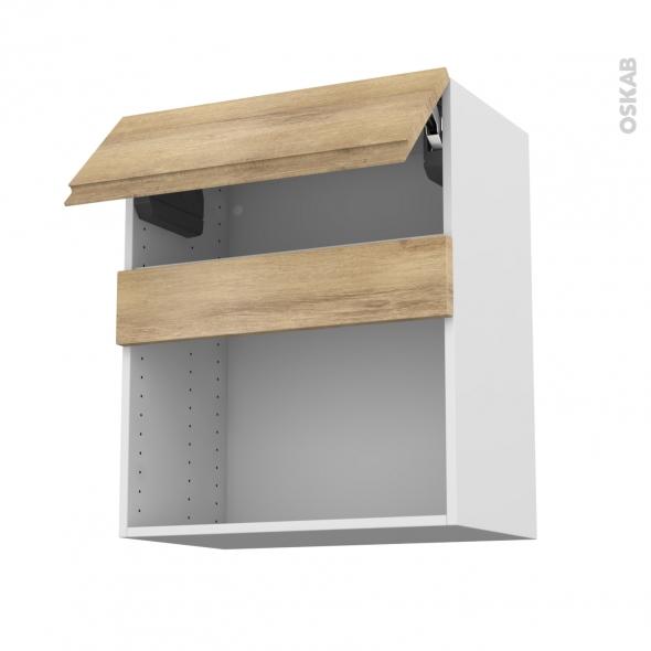 Meuble de cuisine - Haut MO encastrable niche 38 - IPOMA Chêne naturel - 1 abattant - L60 x H70 x P37 cm