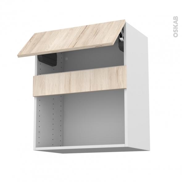 Meuble de cuisine - Haut MO encastrable niche 38 - IKORO Chêne clair - 1 abattant - L60 x H70 x P37 cm