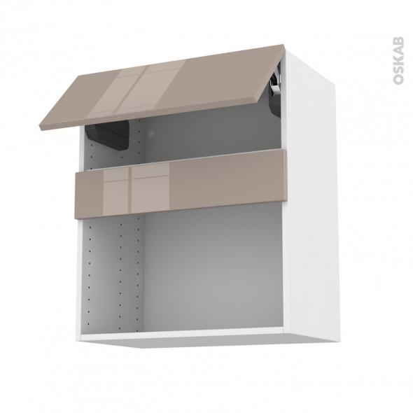 Meuble de cuisine - Haut MO encastrable niche 38 - KERIA Moka - 1 abattant - L60 x H70 x P37 cm