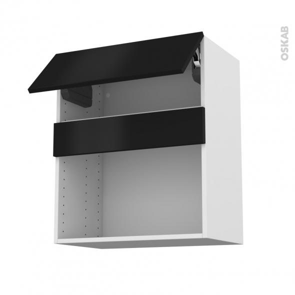 Meuble de cuisine - Haut MO encastrable niche 38 - GINKO Noir - 1 abattant - L60 x H70 x P37 cm