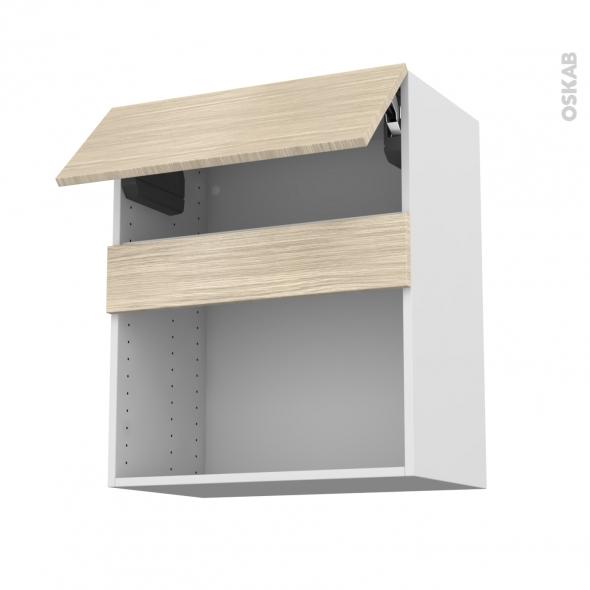 Meuble de cuisine - Haut MO encastrable niche 38 - STILO Noyer Blanchi - 1 abattant - L60 x H70 x P37 cm