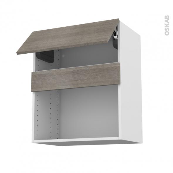 Meuble de cuisine - Haut MO encastrable niche 38 - STILO Noyer Naturel - 1 abattant - L60 x H70 x P37 cm