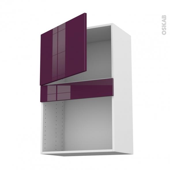 Meuble de cuisine - Haut MO encastrable niche 38 - KERIA Aubergine - 1 porte - L60 x H92 x P37 cm