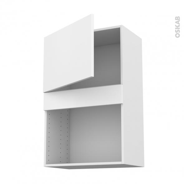 GINKO Blanc - Meuble haut MO niche 36/38 - 1 porte - L60xH92xP37
